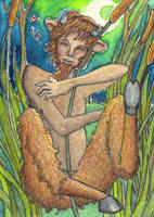 Pan hugging Syrinx by Ermelin