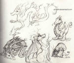 Forest Dragon Sketches by Ermelin
