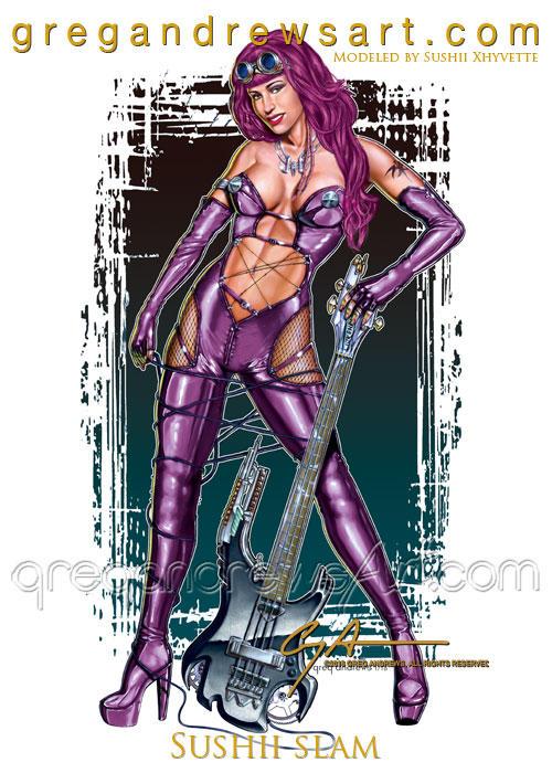 SUSHII SLAM fantasy guitar girl by Greg Andrews by badass-artist
