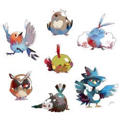 Watercolor Birds by bluekomadori