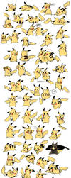 Pikachu Expressions/Poses by bluekomadori