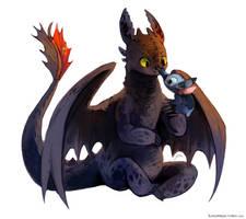 Stitch and Toothless by bluekomadori