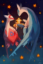 Eon dragons and Jirachi by bluekomadori