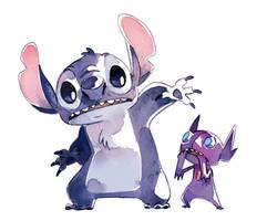Stitch and Sableye by bluekomadori
