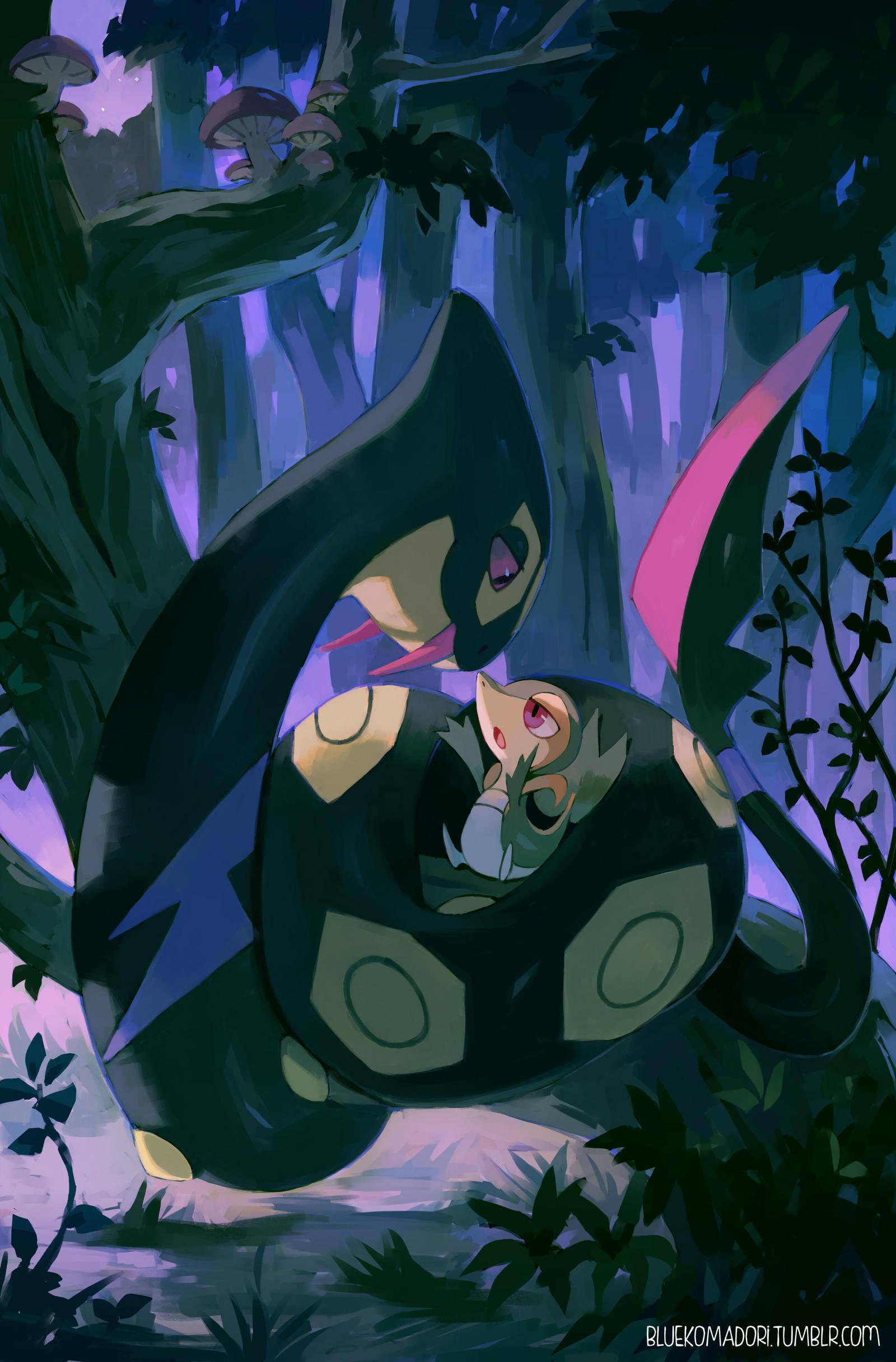 Seviper and Snivy by bluekomadori