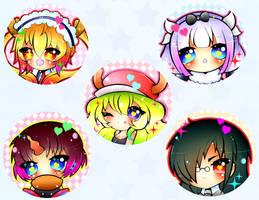 Dragon Maid Button Set by xxMiniPandaxx