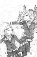 Hermoine and Ginny Pencils by ColletteTurner