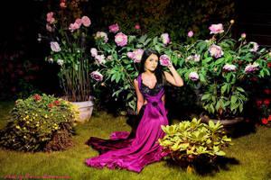 Nina in a crimson dress by ToriaChernenko