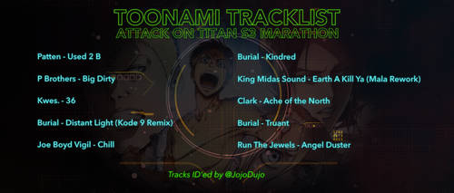 Toonami Tracklist - Attack on Titan S3 Marathon by JPReckless2444
