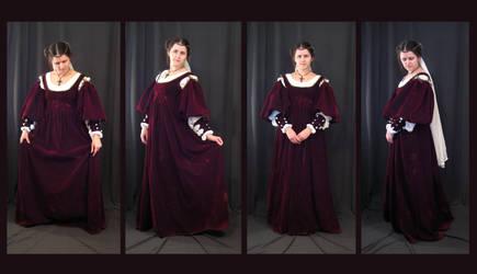 burgundy velvet dress by aelthwyn
