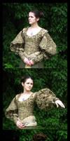 Green Renaissance Bodice I by aelthwyn