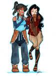 Korra and Asami by starlinehodge