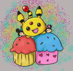 Ampharos Cupcake Party by BeybladerSteph-chan