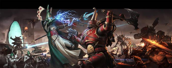 WH40K Conquest: Eldar vs Chaos by wraithdt