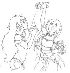 Commission Traditionnal Sketch - Shana and Eanwen by BuddySteel