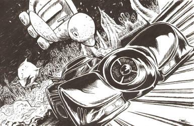 Batmobile Attacks! by artistjerrybennett