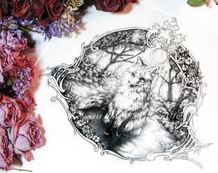 Fox and Moon by JenniferWeiler