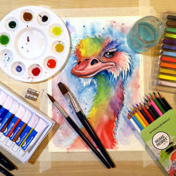 Abstract Watercolor Ostrich by LoVeras