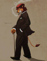 L for Lion in Suit by Defago