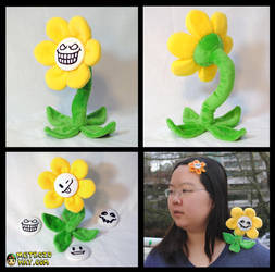 Flowey Plushie with interchangable faces by Eyes5