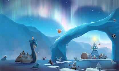 [Wallpaper] Arctic Christmas by arkeis-pokemon