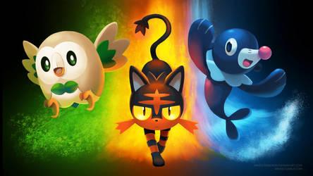 [Wallpaper] Pokemon Sun/Moon Starters by arkeis-pokemon