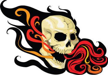 Flaming Skull by petridish