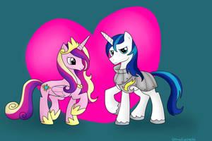 Princess Cadence and Shining Armor by BlueEyesNeko