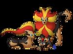 We Are Family - Litleo, Pyroar by BlueEyesNeko
