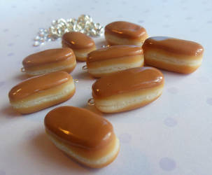 polymer clay maple bar donuts by ScrumptiousDoodle
