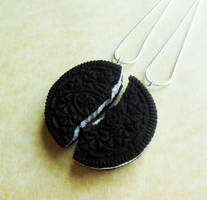 polymer clay oreo cookie friendship necklaces by ScrumptiousDoodle