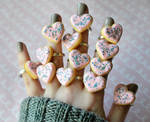 Polymer Clay Miniature Sugar Cookie Heart Rings by ScrumptiousDoodle