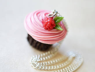 Rasoberry Buttercream Cupcake Necklace by ScrumptiousDoodle