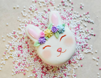 Polymer Clay Spring Bunny Macaron Miniature Food by ScrumptiousDoodle
