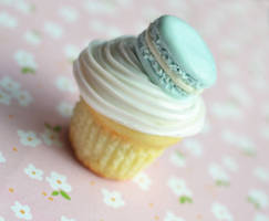 Macaron Cupcake Miniature Polymer Clay Magnet by ScrumptiousDoodle
