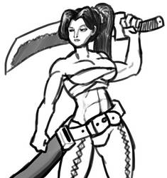 Swordswoman sketch by WynterLegend