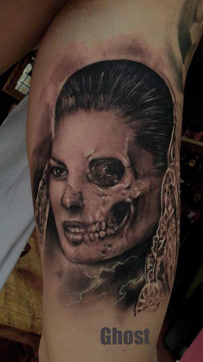 Half Girl Half Skull Tattoo By Mil5 On Deviantart