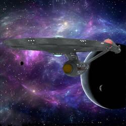 USS Enterprise Leaves Orbit by VanishingPointInc
