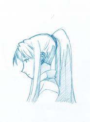 sad Winry Rockbell from Full Metal Alchemist by Fonderia