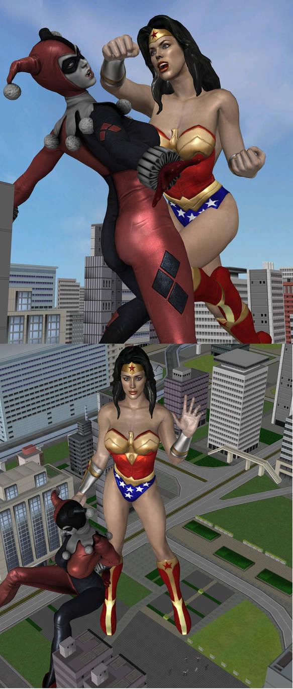 Wonder Woman Beats Harley Quinn by roodedude