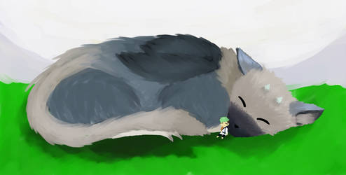 The last guardian fanart :Jacksepticeye and Trico by Marshymoo12
