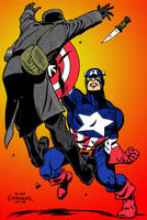 Captain America bashes Nazi by jmascia