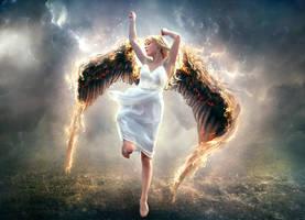 Black Wings Angel by staples5mm