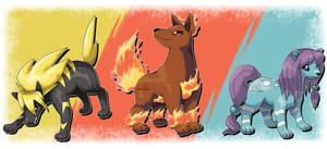 Beta Pokemon - Rai, En and Sui by TaylorTrap622