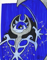 Lunala in Blue and Silver Ink by StardustGremlin