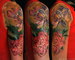 Flowers sleeve 2nd sitting by grimmy3d