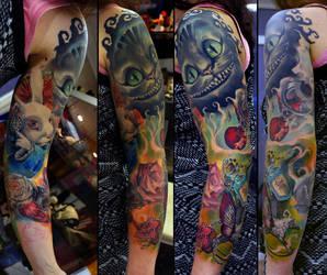 Alice in Wonderland sleeve in progress by grimmy3d