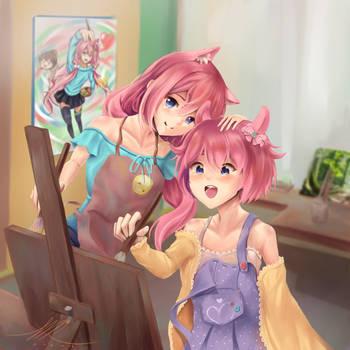 Komomo Tries Painting! by hellfire153