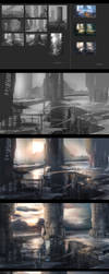Sci-fi Buildings process by mrainbowwj