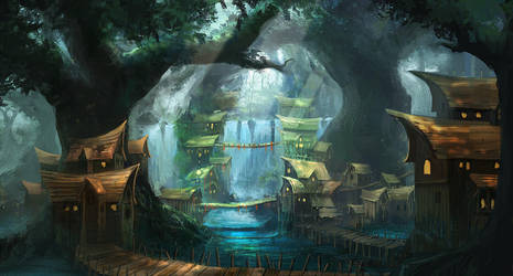 Village In The Woods by mrainbowwj